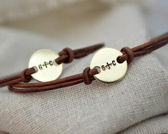 Gold Best Friend Bracelet Set - Personalize - Valentines - Best Friend Jewelry
