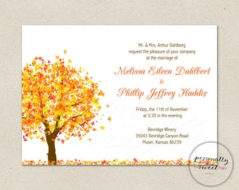 Fall Autumn Tree Printable Invitation / Tree Invitation / Fall Invitation / Autumn Invitation