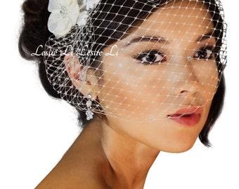 Leslie Li's Women's Bridal Birdcage Veil with Vintage Style Lace Applique New 23-117