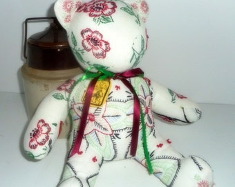 Bear, Upcycled Bear,Handmade Artist Bear, Vintage Linens