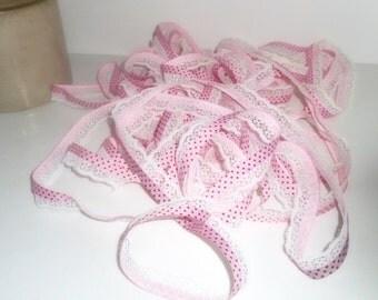 Lace, Sewing Supplies, Pink Ribbon Trim , Pink and Black Trim, Yardage Lace