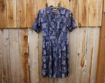 Vintage Dress, Cay Artley, Blue, Sparkle Buttons,  Fair Vintage Condition, Beautiful Color and Design, 1960's