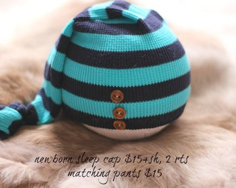 ready to ship, newborn photography prop, upcycled turquoise navy striped sleep cap hat with wood buttons, newborn baby boy prop, newborn hat