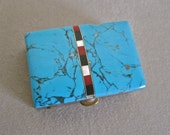 Turquoise Pill Box Southwestern Native American Zuni Style Inlay Carnelian Mother of Pearl Onyx Tiny Shabby Chic  Box for Man Woman