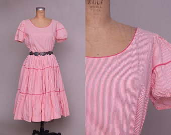 50s Full Circle Candy Cane Striped Pink and White Rockabilly Country Western Rodeo Dress