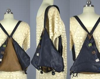 Vintage Leather Multi Design Large Crossbody Sling Pack Backpack Convertible Multi Function Bag