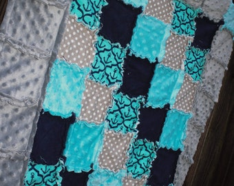 Aqua/Teal/Turquoise, Navy & Gray QUATREFOIL ANCHOR Rag Quilt/Blanket! Perfect baby shower gift, would be striking boy nursery crib bedding