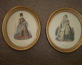 2 Antique French Fashion Prints...1900...Wood Frames and Glass...So Chic !!