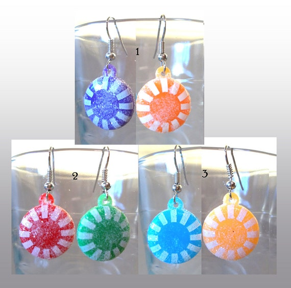 Sparkling Sugared Christmas / Halloween Candy Earrings, Handmade Original Fashion Jewelry, Cute Bright Holiday Jewelry Teen or Ladies Gift
