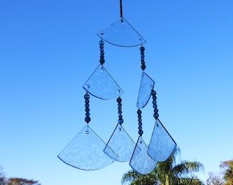 Stained Glass Suncatcher Wind Chime, Stained Glass Chimes, Glass Windchime, Glass Yard Art, Garden Decor, Original Home Decor, OOAK Handmade