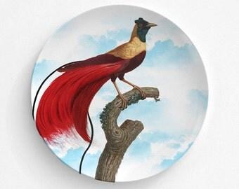 "Red Bird Of Paradise Plate, Melamine Plate, Vintage Bird Illustration, Kitchen, decorative plate, gift, Dinner Plate, 10"" plate,"