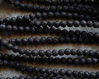 Lava Beads - 6mm Black Lightly Oiled Lava Rock Gemstone Beads, 15.5-16 Inch Strand (INDOC541)