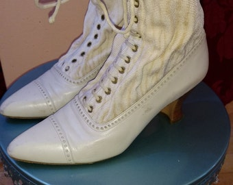 Vintage Ivory Leather and Crepe Ankle Boots