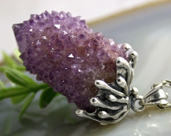 Amethyst Pendant Druzy Drusy Statement Necklace Sterling Silver Jewelry