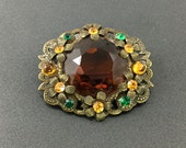 Vintage Brooch Czech Amber Glass Brooch with orange and clear rhinestones.Vintage Brooches