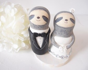 Love Wedding Cake Toppers -Love Sloth with base