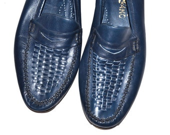 Vintage  Salvatore Ferragamo Florence Mens Leather Loafers 10 1/2 D  blue leather slip ons made in Italy casual men's shoes comfort moccasin