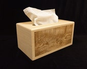 Unfinished Wood Tissue Box Cover-Kleenex 160 count 2-ply box-with engraved wildlife turkey scene-unfinished wood box-engravable wood box