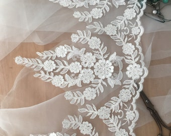 Exquisite beaded alencon lace trim by yard 24 cm wide