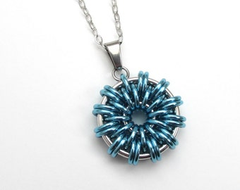 Turquoise chainmaille pendant, women's necklace, turquoise jewelry, round pendant