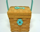 Reserved For M...Turquoise Key Motif Woven Basket with Handle / Kitchen Utensil Storage / Sewing Basket / Tote Basket