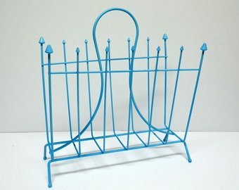 Mid Century Magazine Rack in Aqua Blue