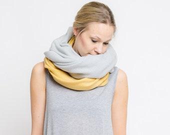 merino color block scarf // taube - senf