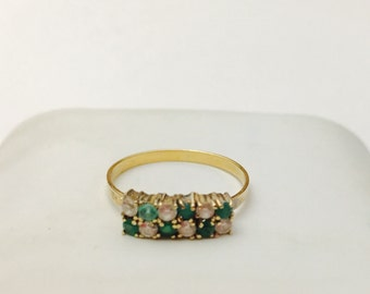 14k Gold Emerald & C Z Ring made in Colombia, Vintage gold ring, Clearance  Sale, Item No. S438