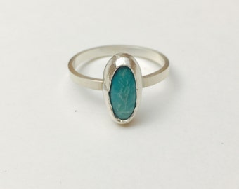 Turquoise Silver Ring, Hand Made, Oval shape Stone, Native Inspired ring, Item No. S399