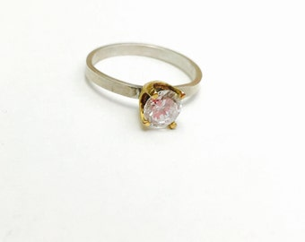 Vintage Solitaire Ring Size 7.5, Sterling Silver, Clear C Z, Gold Brushed, Round Stone, Item No. S 286