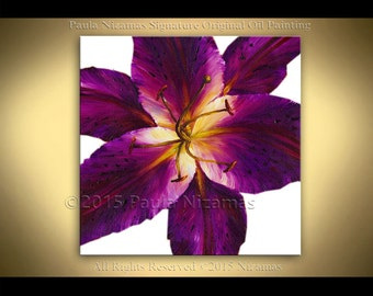 """Original 36"""" Painting Tiger Lily purple Floral Fine art on canvas from Nizamas Ready to hang modern interior design wall decor purple flower"""