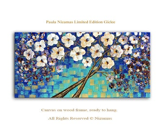 Tree in Blue - limited edition Art on canvas Home Interior Decor Wall Art ready to hang
