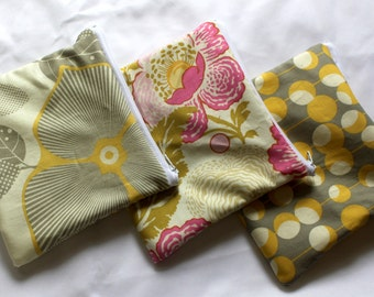 "3 Reusable sandwich bags snack bags in coordinating yellow, pink flower print 7""x6.5"""