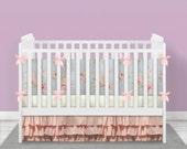 FREE SHIPPING***Shabby Chic Crib Bedding, Pink, CUSTOM, Crib Bumper, Crib Skirt, and Fitted Sheet