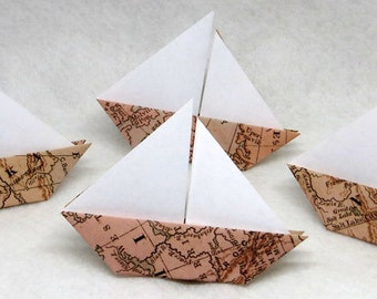 Origami Sail Boats - 50 Origami Weathered Map Paper Sail Boats Escort Card Place Card