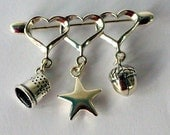 Peter Pan Thimble and Wendy  Acorn Hidden Kisses Solid Sterling Silver Brooch, Pin,  Second Star Right