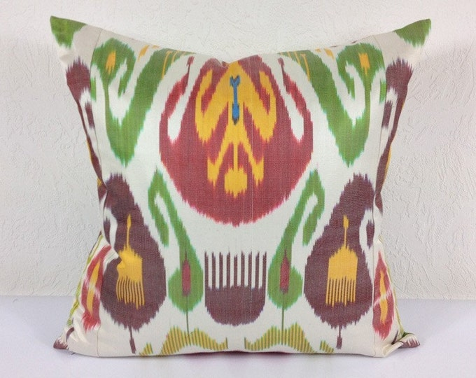 Ikat Pillow, Handmade Ikat Pillow Cover  A511-1AB3, Ikat throw pillows, Designer pillows, Decorative pillows, Accent pillows