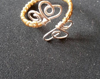 Handmade Two Hearts Wire Wrapped Gold Plated Ring. Made to Order