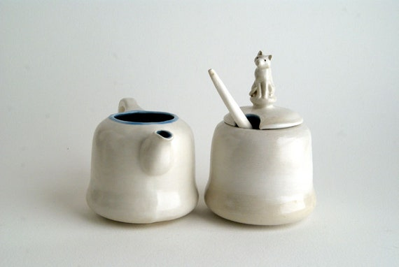 cat sugar bowl and creamer set with spoon - hand-built white and blue