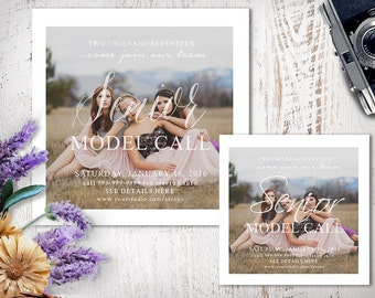 Senior Model Call Photography Template, Photoshop Marketing Template, Photo Template, Flyer, SMC201, INSTANT DOWNLOAD