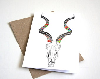 Kudu skull greeting card | skull card | animal card | horns | pattern greeting card