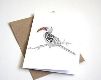 Hornbill greeting card | bird card | bird illustration | bird greeting card | pattern card