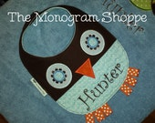 Owl Bib Quilted Embroidered With Snap Closure - Unique - For Baby and Children