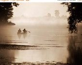 Christmas in July Misty Morning Lake Photo, Rustic Landscape Photography, Fishing Boat Fog Mist Neutral, Lake House Cabin Cottage Decor, Hom