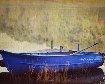 Blue Row Boat Photo, Autumn Pond Photography, Fall Rustic Lake Cabin Cottage Decor, Warm Earthy Tones, Home Decor Wall Art Lakehouse