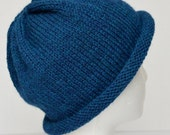 Blue Teen Hat, Womens Beanie, Rolled Brim Beanie, Rolled Brim Hat, Hand Knit Blue Wool Hat, Wool Beanie, Winter Hat, Warm Beanie