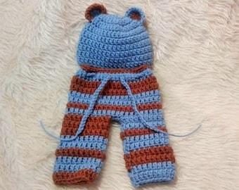 Sale. Clearance. Newborn bear hat. Newborn bear hat and pants set. Newborn boy. Newborn set. Going home outfit.