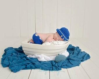 Sale. Clearance.Nautical set. Newborn sailor set. Newborn sailor suit. Newborn pants and hat.
