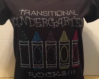 Transitional Kidergarten Rocks (Crayons) Custom Bling T-Shirt