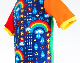 Children's t-shirt, organic rainbows - HANDMADE TO ORDER